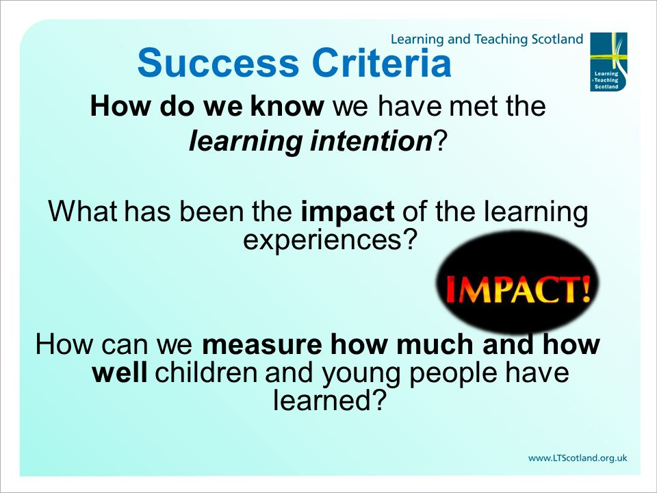 Success Criteria How do we know we have met the learning intention