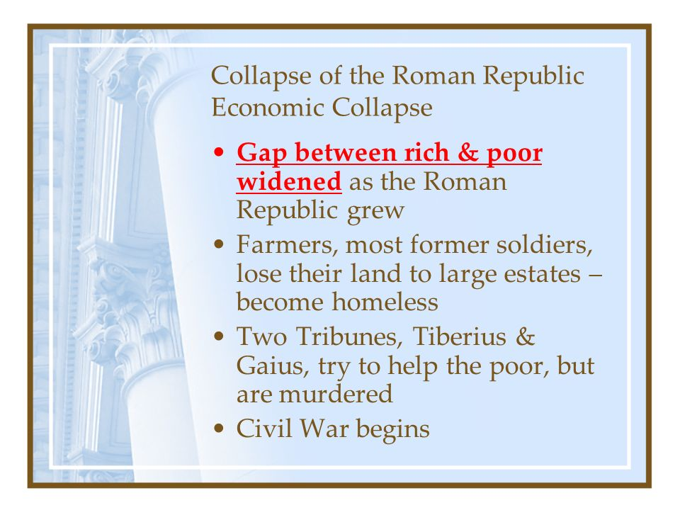 the collapse of the roman republic Giuseppe mazzini and colleagues proclaimed the end of papal power and  prepared a modern constitution for the newly announced roman republic  giuseppe.