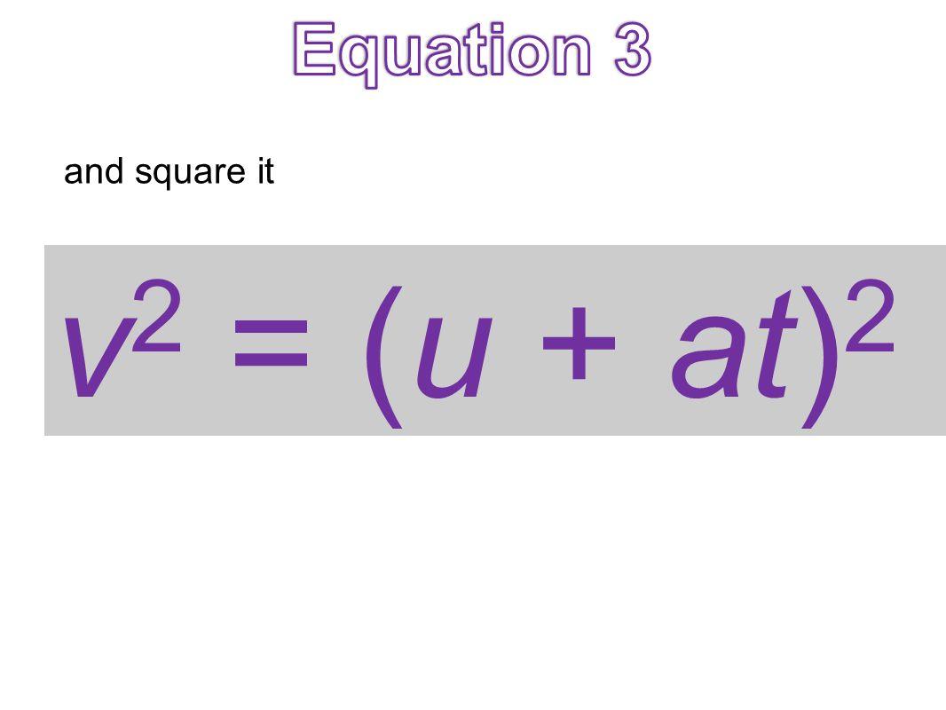 Equation 3 and square it v2 = (u + at)2