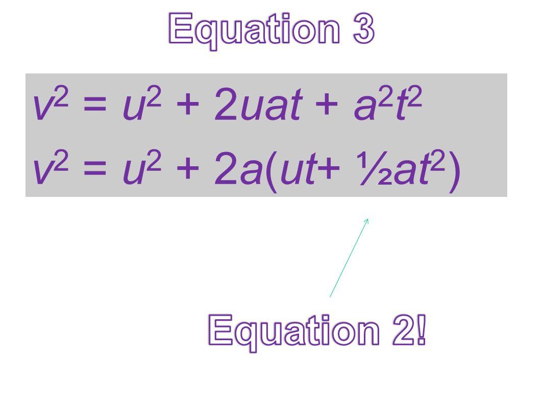 v2 = u2 + 2uat + a2t2 v2 = u2 + 2a(ut+ ½at2)