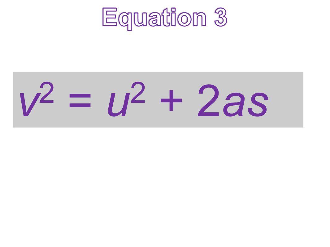 Equation 3 v2 = u2 + 2as