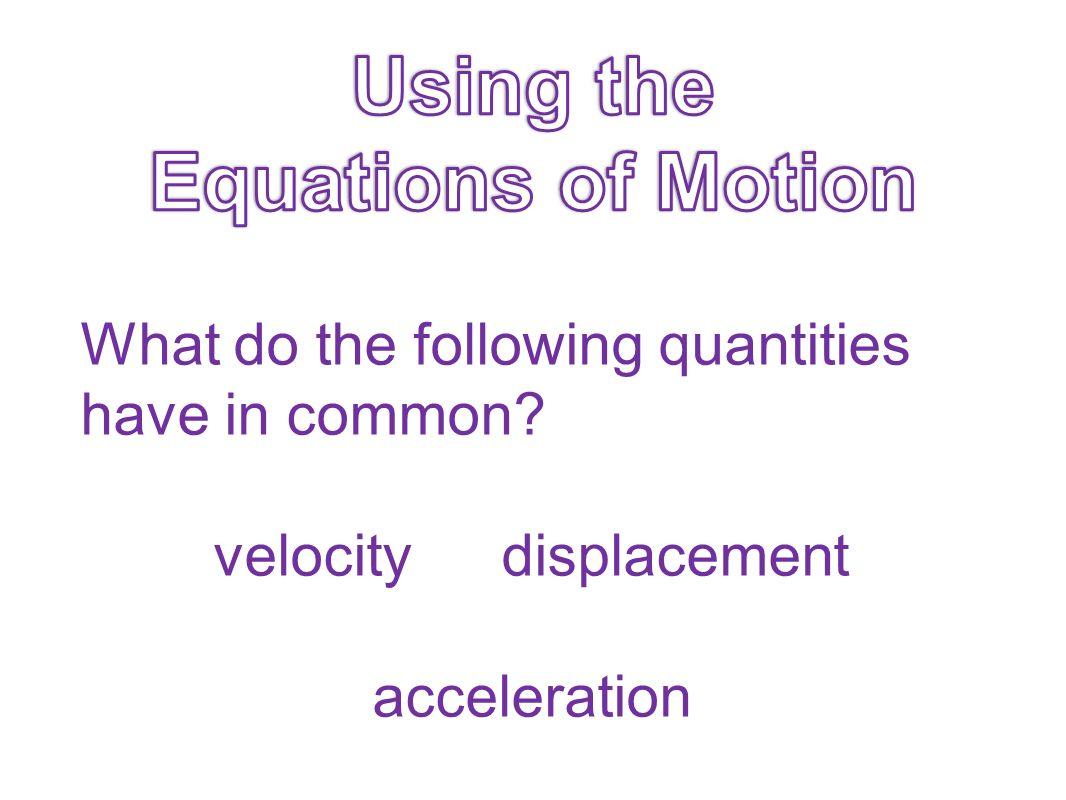 velocity displacement