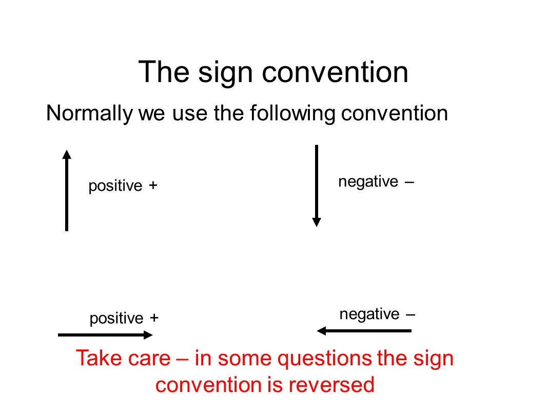 Take care – in some questions the sign convention is reversed