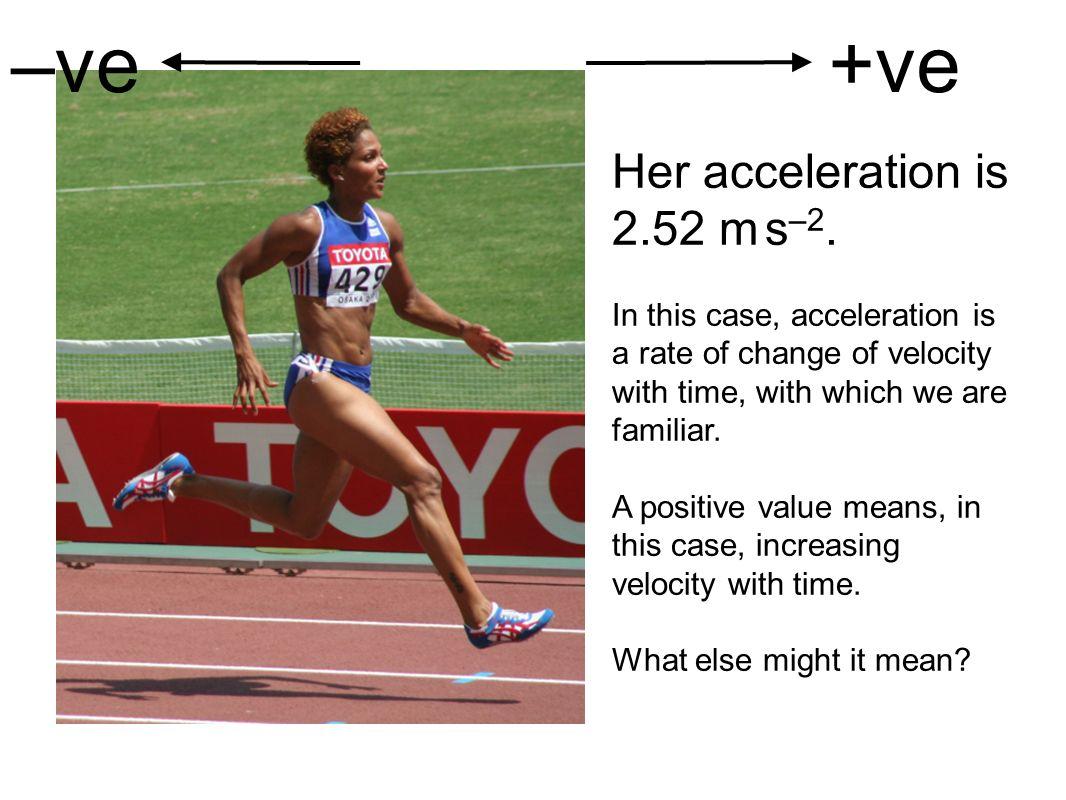 –ve +ve Her acceleration is 2.52 m s–2.