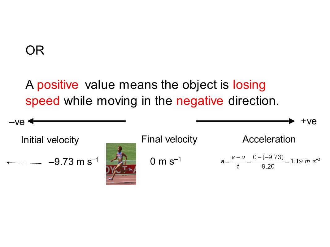 OR A positive value means the object is losing speed while moving in the negative direction. –ve. +ve.