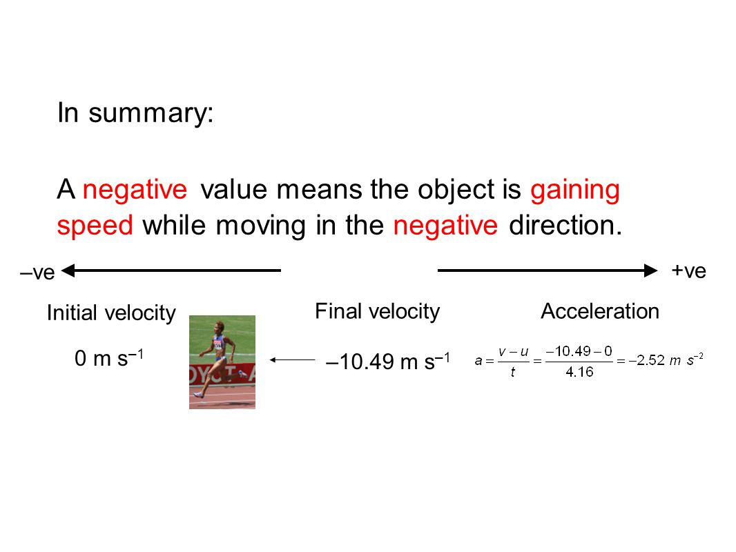 In summary: A negative value means the object is gaining speed while moving in the negative direction.