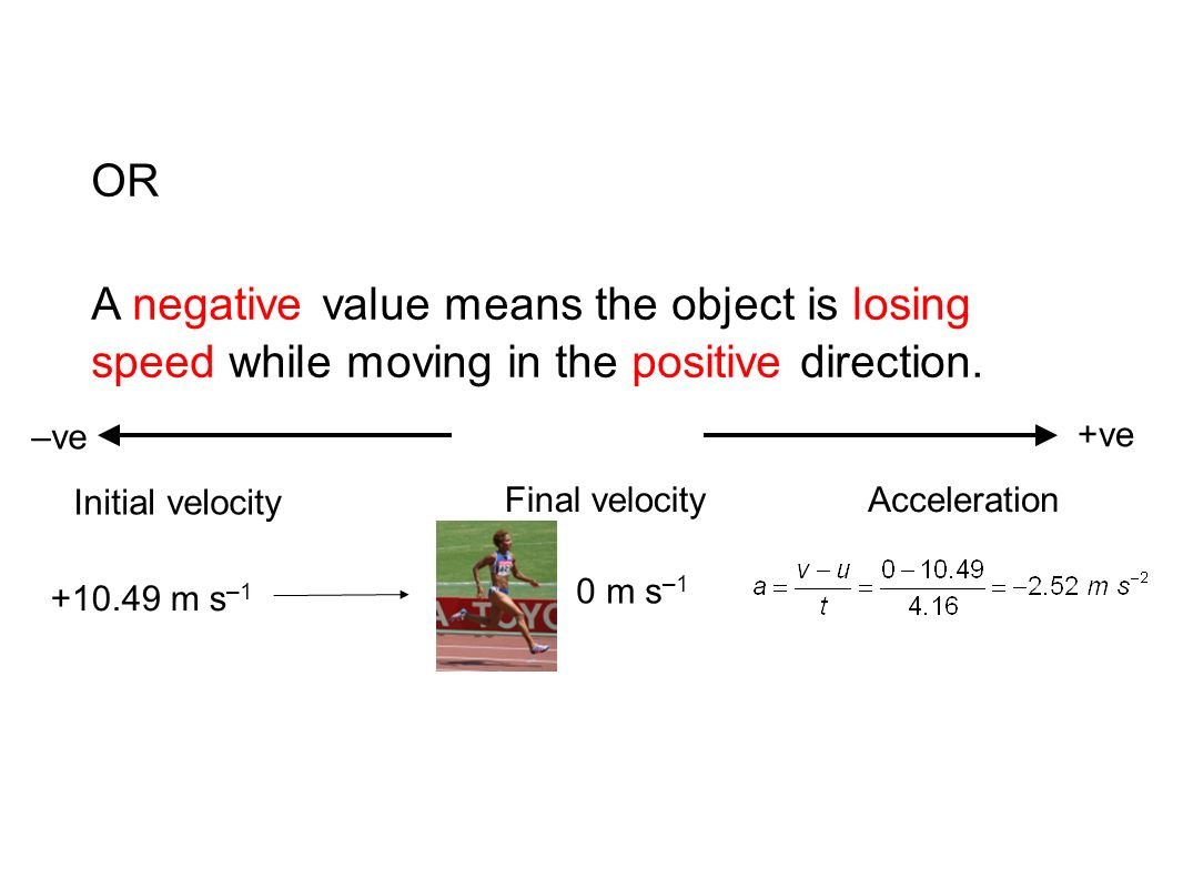 OR A negative value means the object is losing speed while moving in the positive direction. –ve.