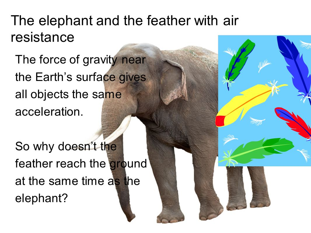 The elephant and the feather with air resistance