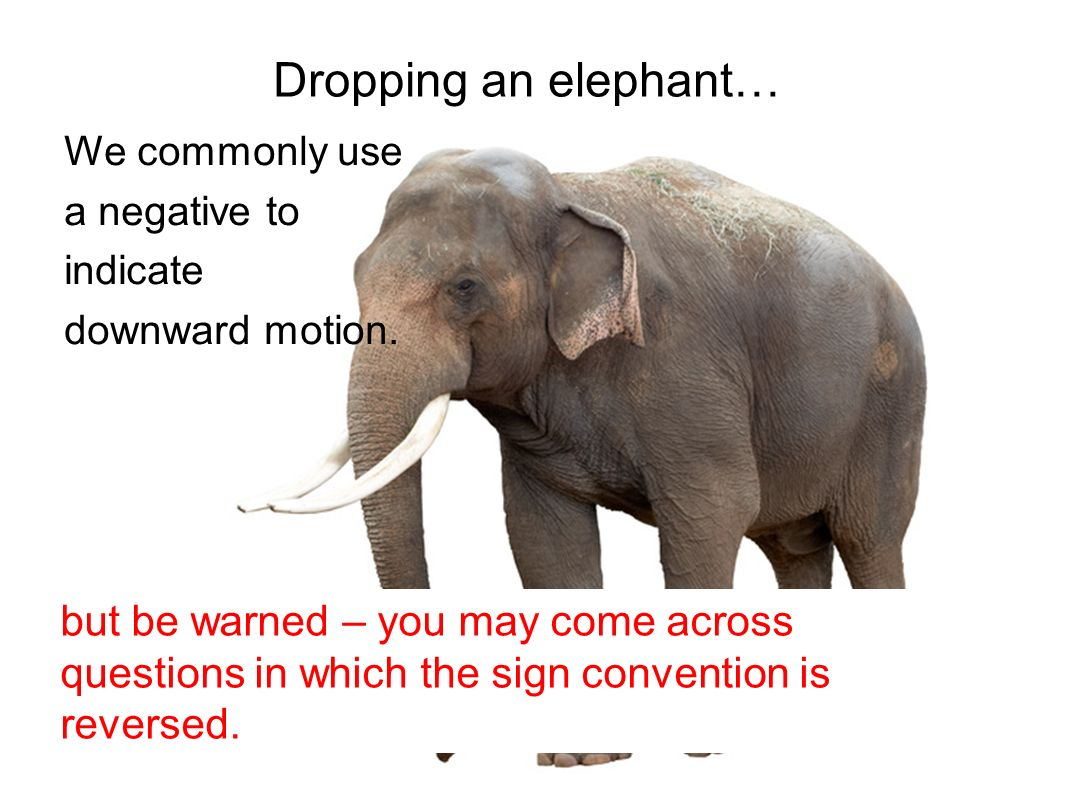 Dropping an elephant… We commonly use. a negative to. indicate. downward motion. Images from Clipart.