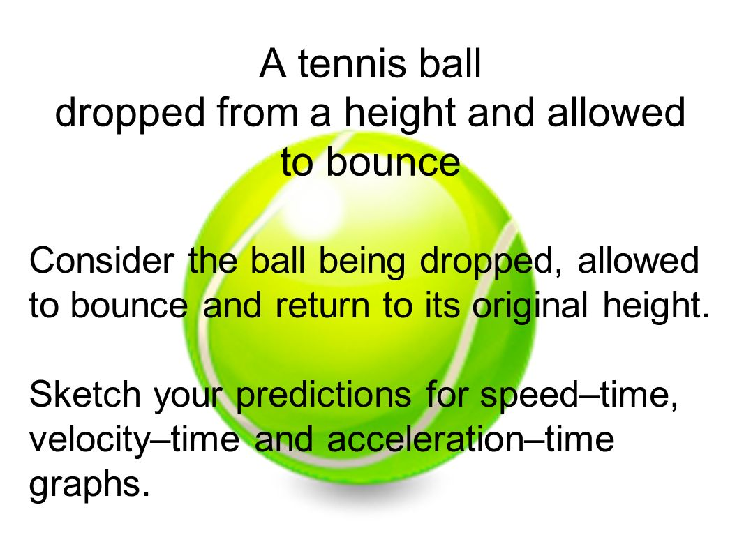 A tennis ball dropped from a height and allowed to bounce