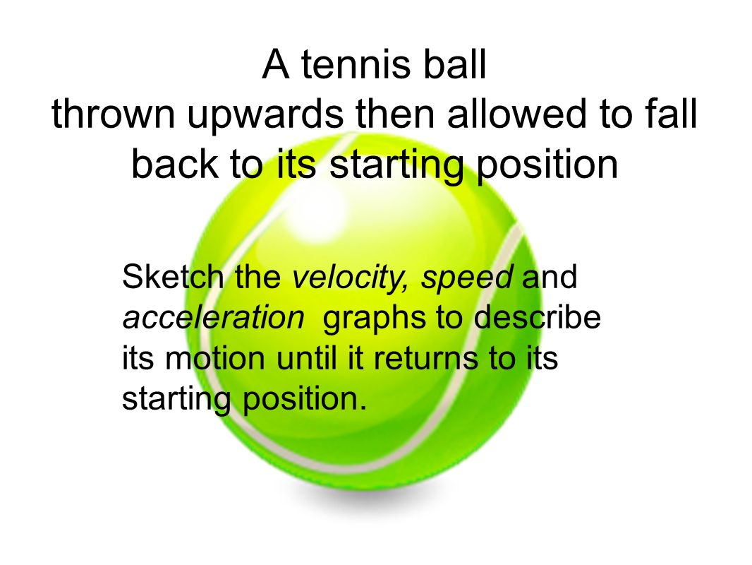 A tennis ball thrown upwards then allowed to fall back to its starting position