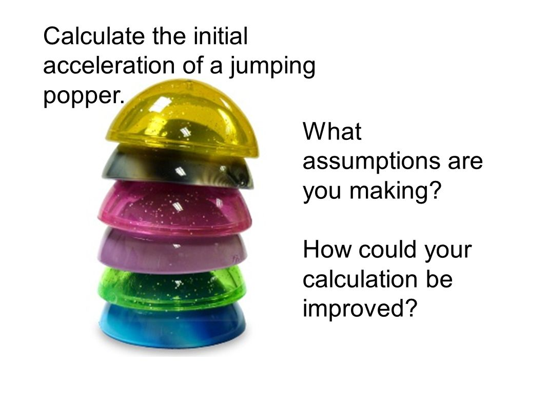 Calculate the initial acceleration of a jumping popper.