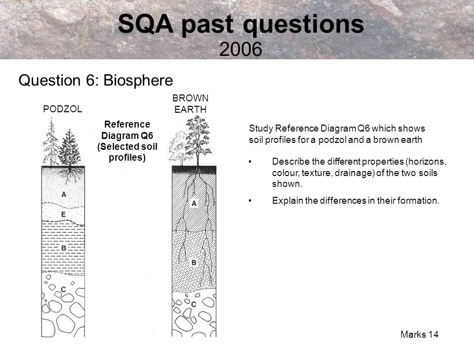 Reference Diagram Q6 (Selected soil profiles)