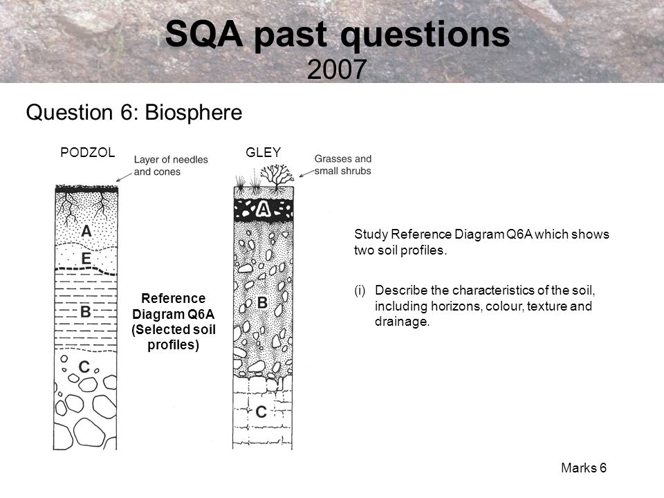 Reference Diagram Q6A (Selected soil profiles)