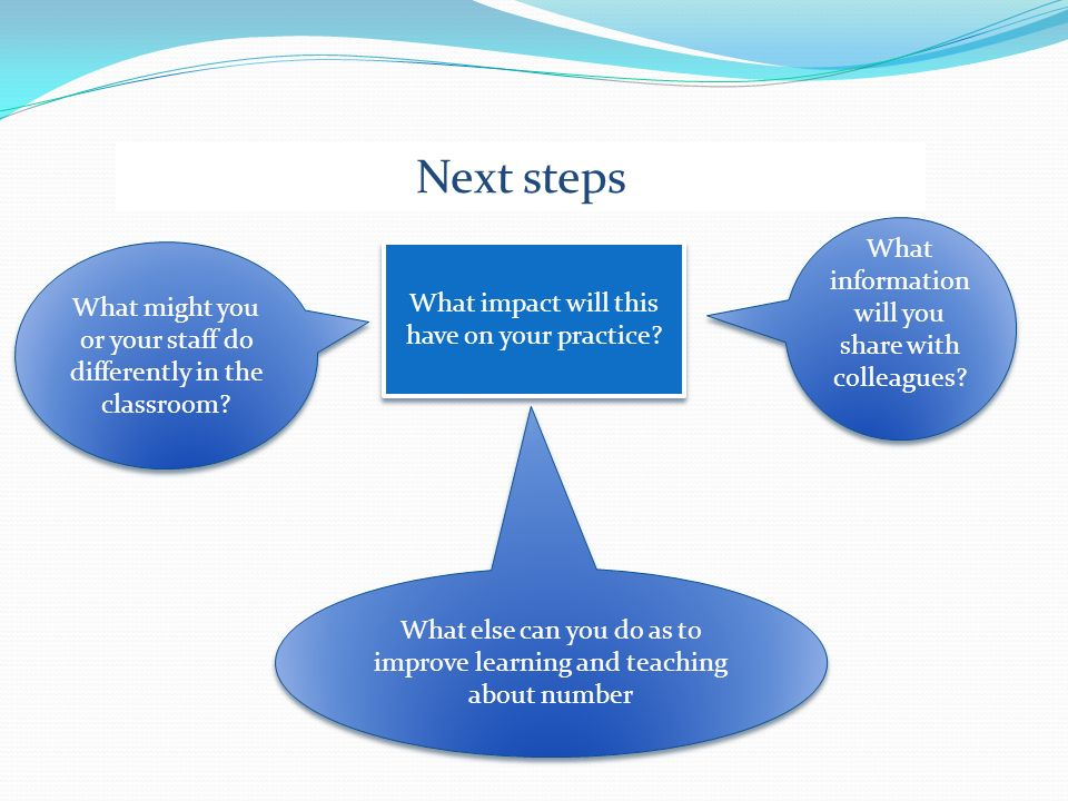 Next steps What information will you share with colleagues