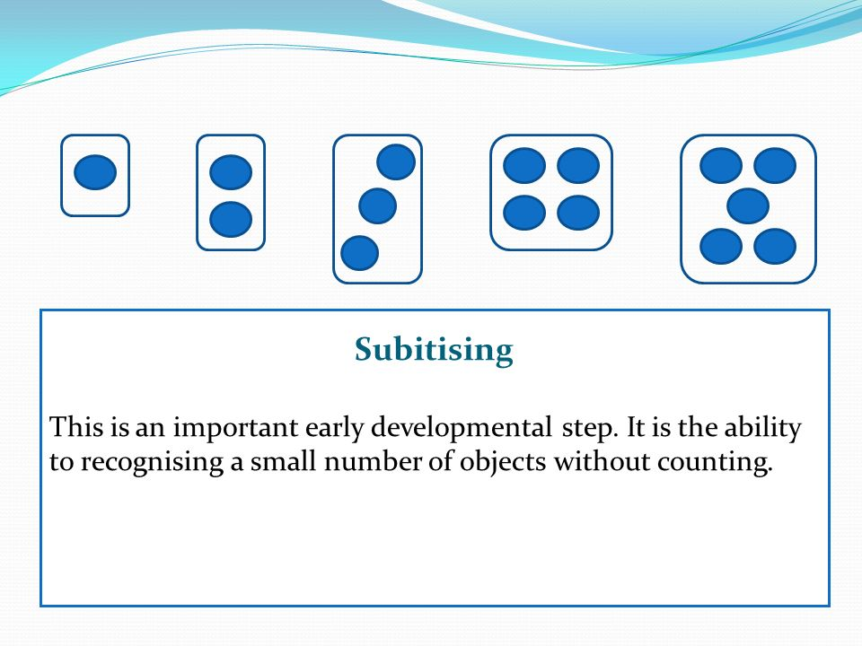 Subitising This is an important early developmental step. It is the ability to recognising a small number of objects without counting.