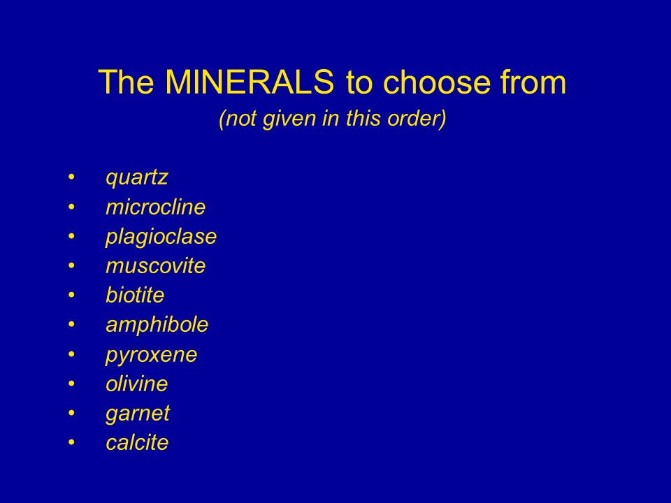 The MINERALS to choose from