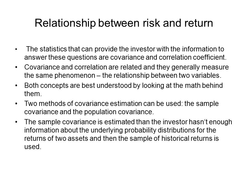 relationship between risk and return capmark