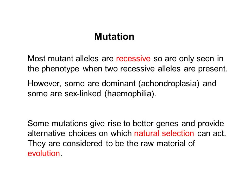 Mutation Most mutant alleles are recessive so are only seen in the phenotype when two recessive alleles are present.