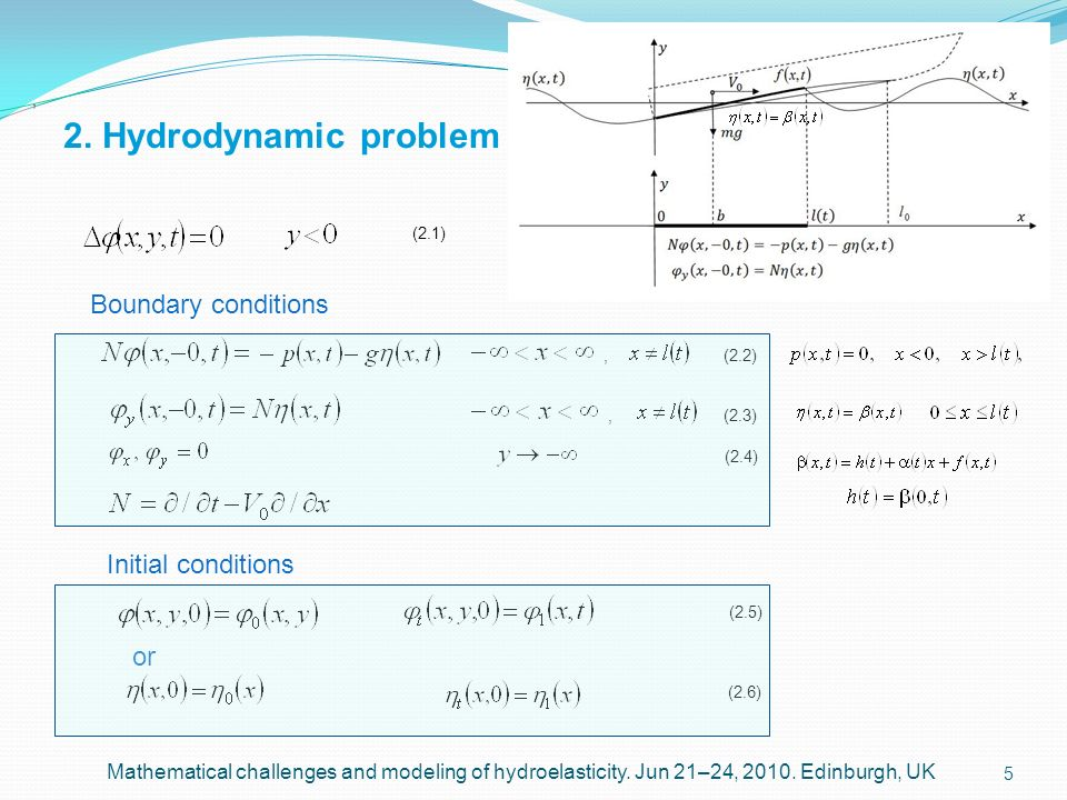 2. Hydrodynamic problem Boundary conditions Initial conditions or