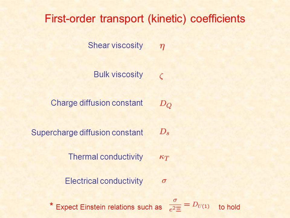 First-order transport (kinetic) coefficients