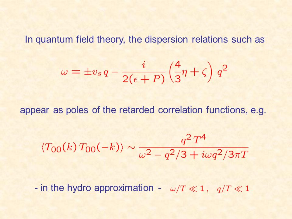 In quantum field theory, the dispersion relations such as