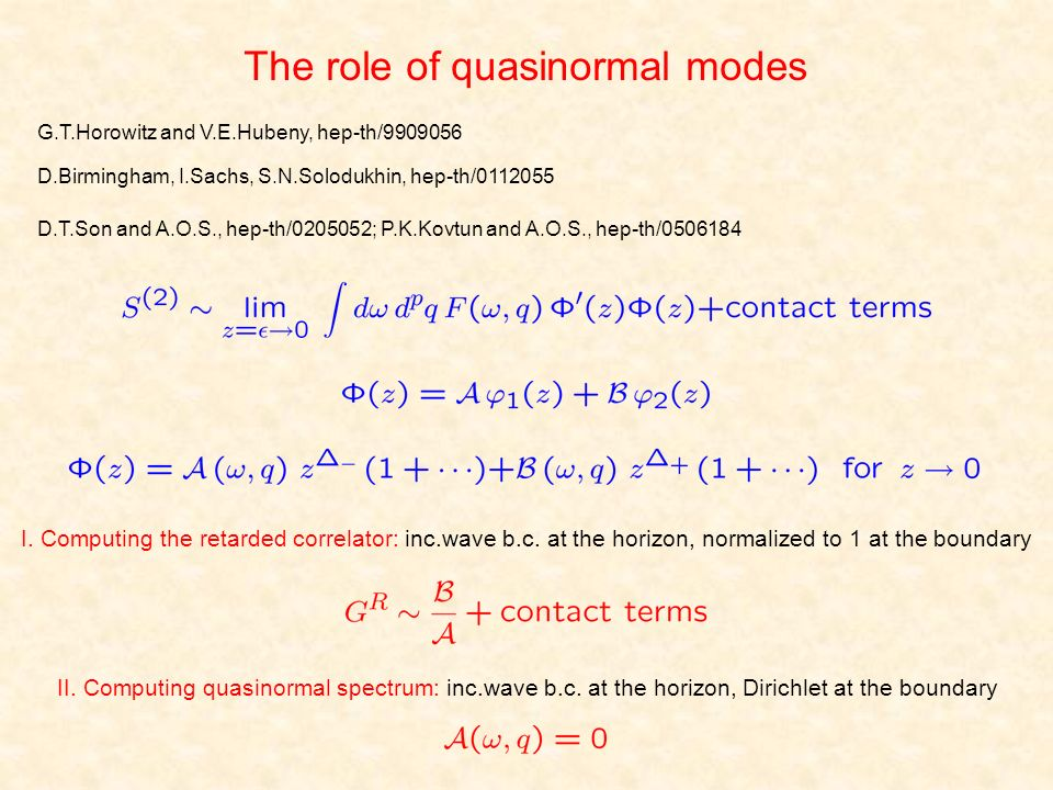 The role of quasinormal modes