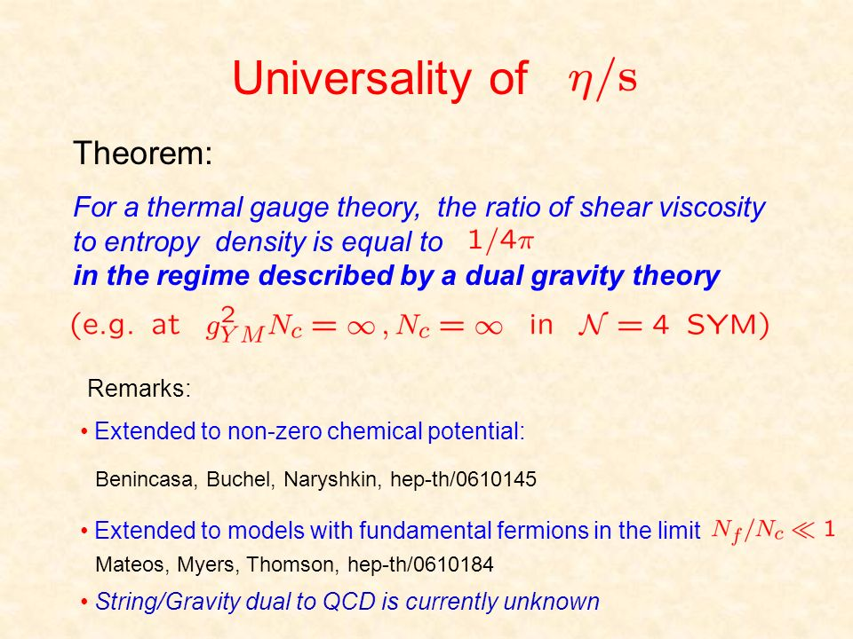 Universality of Theorem: