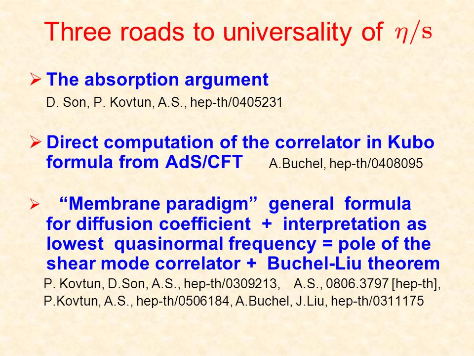 Three roads to universality of