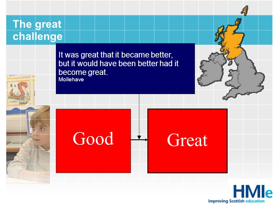 Good Great The great challenge It was great that it became better,
