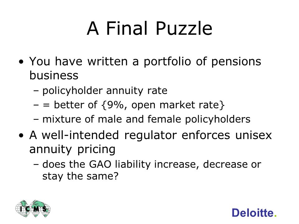 A Final Puzzle You have written a portfolio of pensions business
