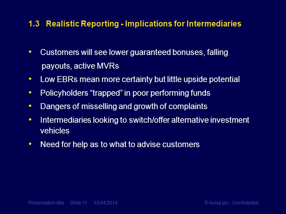 1.3 Realistic Reporting - Implications for Intermediaries