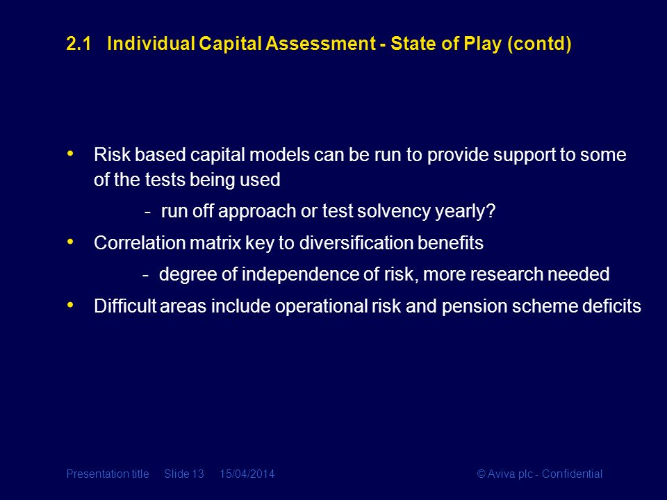 2.1 Individual Capital Assessment - State of Play (contd)