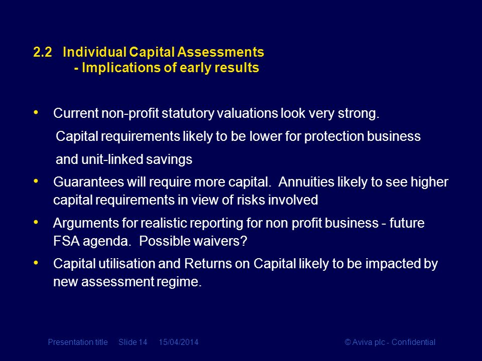 2.2 Individual Capital Assessments - Implications of early results