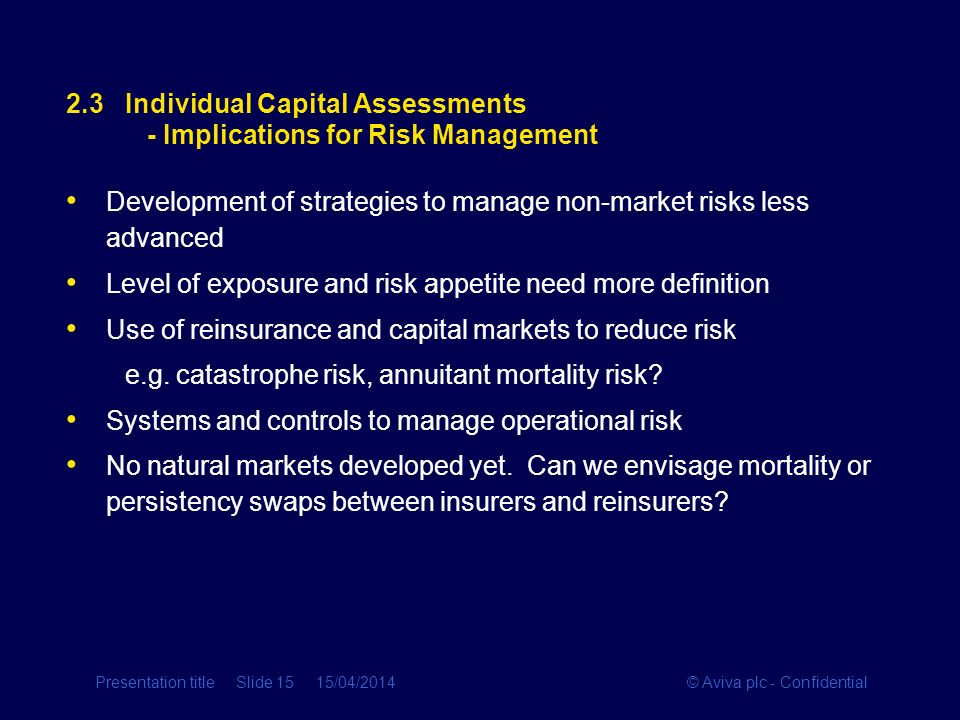 2.3 Individual Capital Assessments - Implications for Risk Management