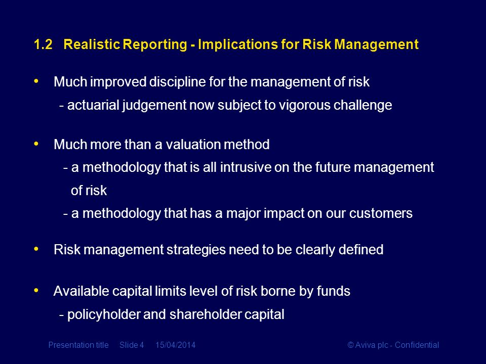 1.2 Realistic Reporting - Implications for Risk Management