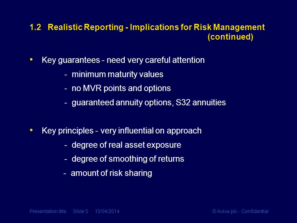 1.2 Realistic Reporting - Implications for Risk Management (continued)