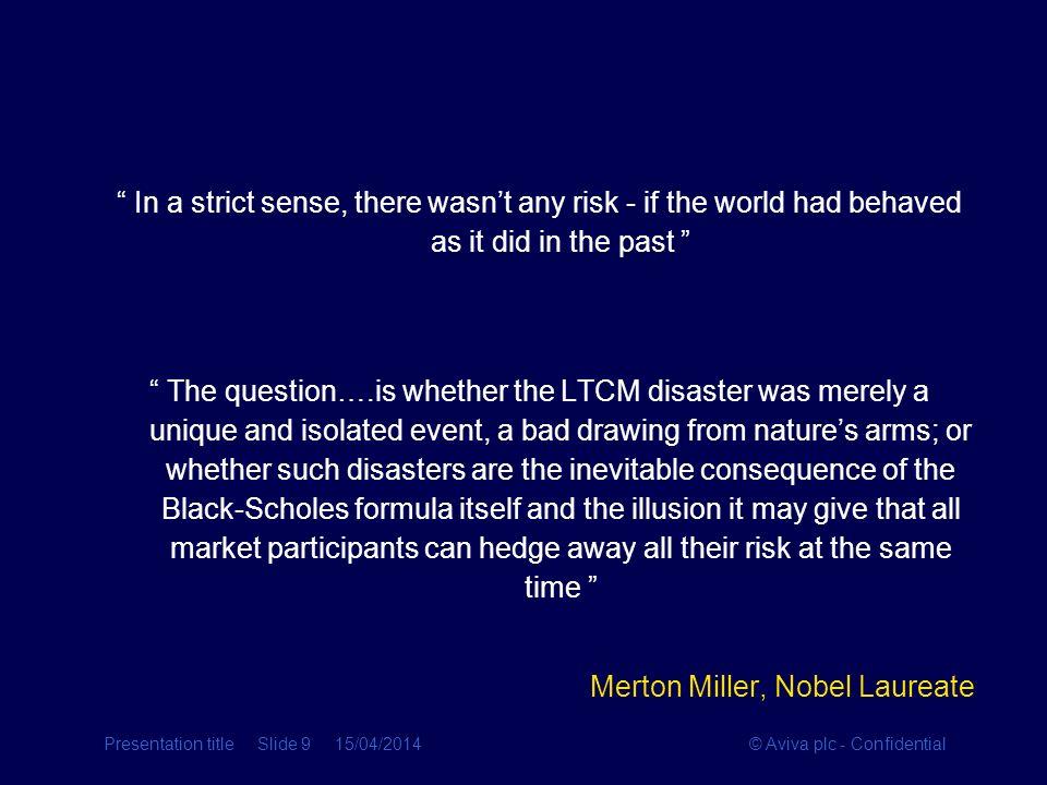 Merton Miller, Nobel Laureate