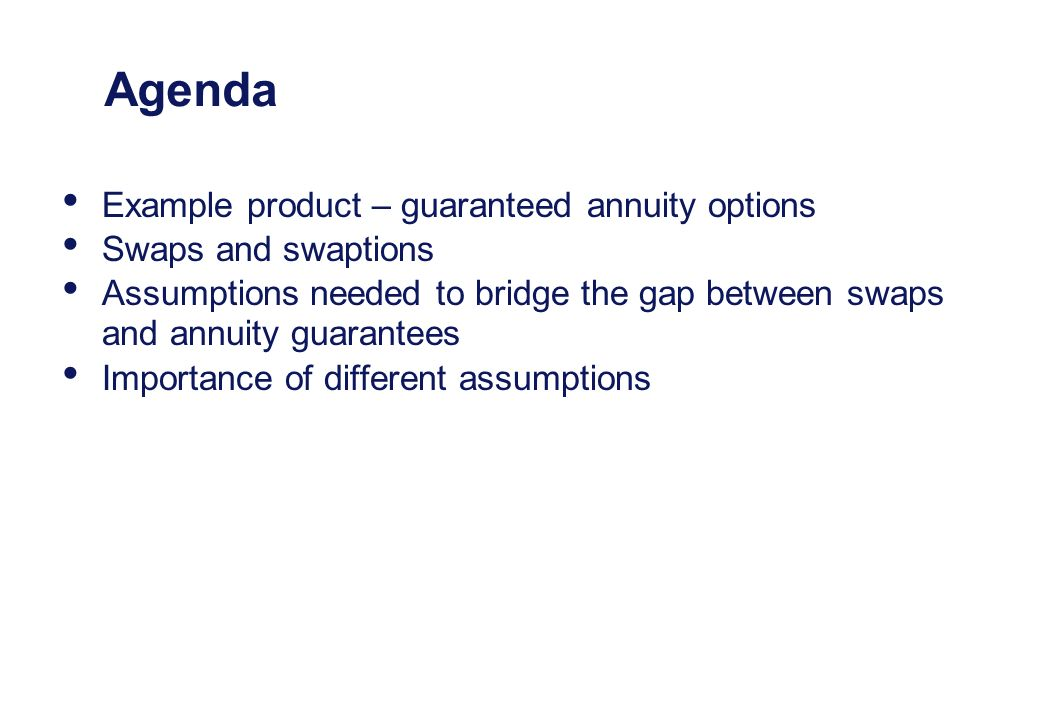 Agenda Example product – guaranteed annuity options