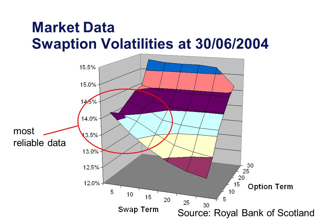 Market Data Swaption Volatilities at 30/06/2004