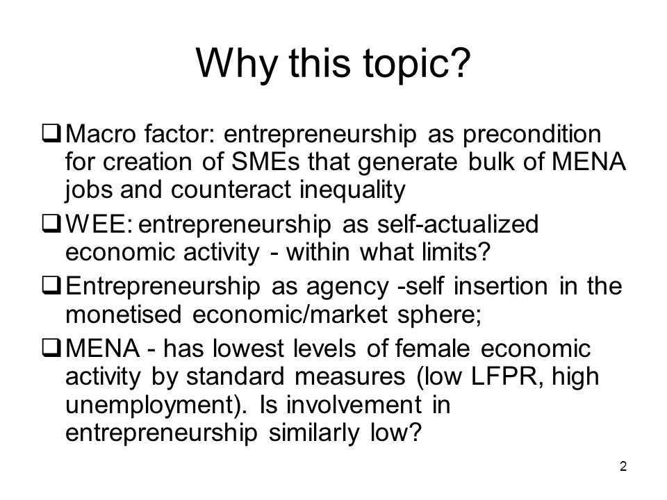 Why this topic Macro factor: entrepreneurship as precondition for creation of SMEs that generate bulk of MENA jobs and counteract inequality.