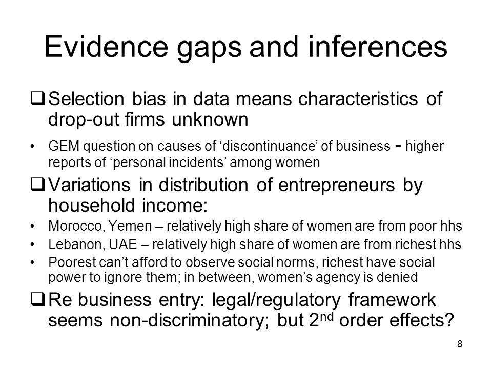Evidence gaps and inferences