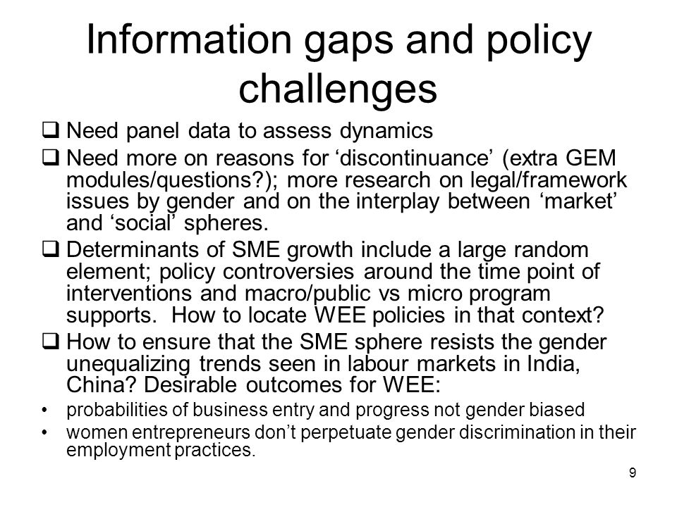 Information gaps and policy challenges