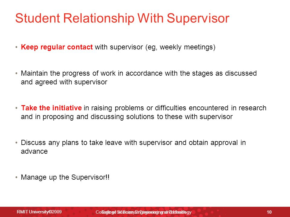 relationship between supervisor and student