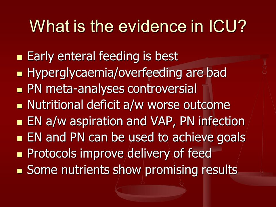 What is the evidence in ICU