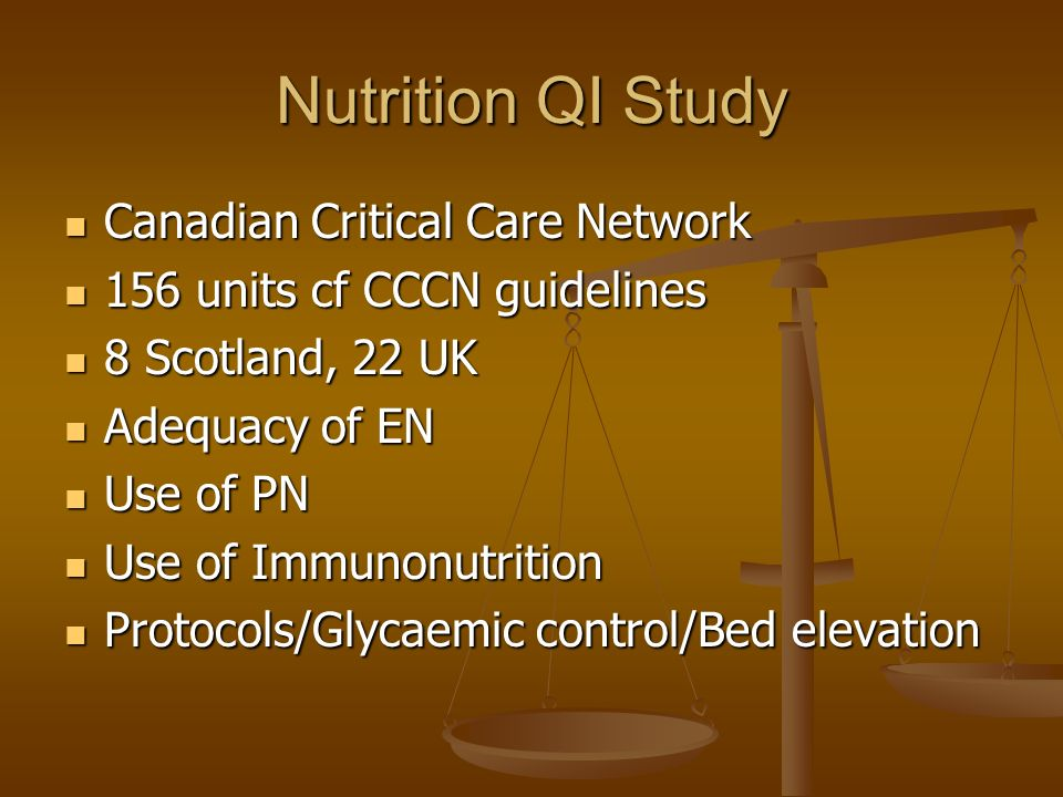 Nutrition QI Study Canadian Critical Care Network