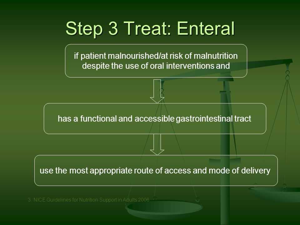 Step 3 Treat: Enteral if patient malnourished/at risk of malnutrition