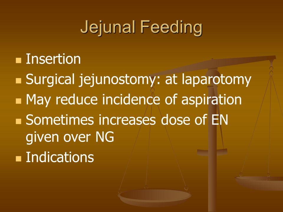 Jejunal Feeding Insertion Surgical jejunostomy: at laparotomy