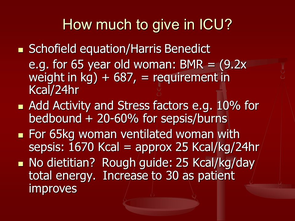 How much to give in ICU Schofield equation/Harris Benedict