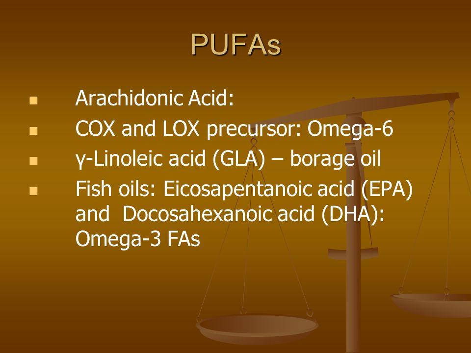 PUFAs Arachidonic Acid: COX and LOX precursor: Omega-6